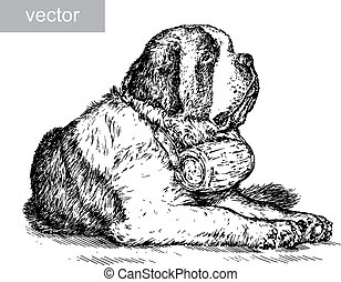 engrave isolated dog vector illustration sketch. linear art