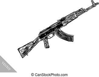 Engrave isolated Kalashnikov illustration sketch - Engrave ...