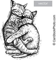 engrave kitten illustration - engrave isolated kitten vector...