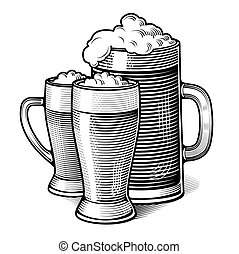 three glasses of beer - vintage engraved illustration