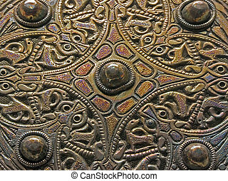 Engraved brass - Ancient engraved brass ornament pattern...