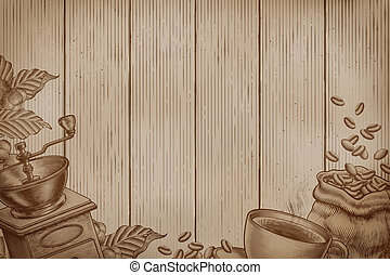 Engraved coffee background - Coffee background on wood...