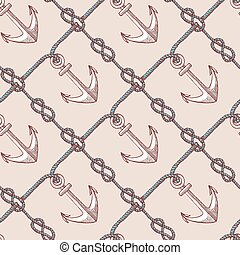 Engraved eternity eight knot and anchor, seamless pattern