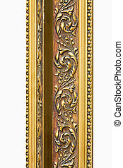 Engraved gold detail - Detail of engraved frame in pure gold...