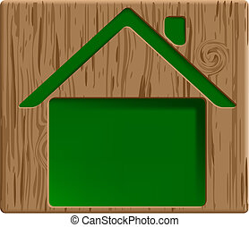 engraved house - vector healthy green house icon carved in...