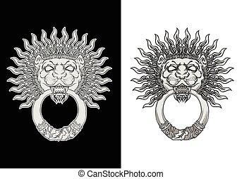 Engraved lion head door knocker. Hand drawn vector illustration isolated