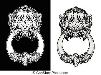 Engraved lion head door knocker. Hand drawn vector ...