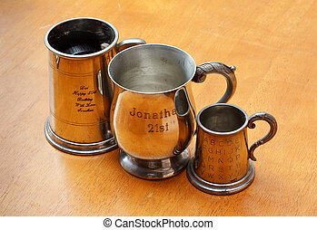 engraved metal - personalised engraved silver tankard or...