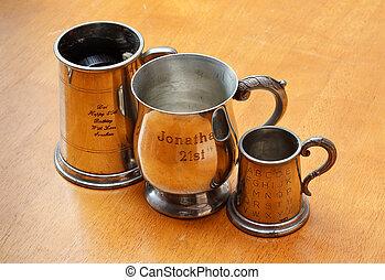 engraved metal - personalised engraved silver tankard or...