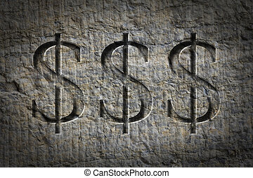 Engraved Money Sign - Engraving of the sign for dollars on...