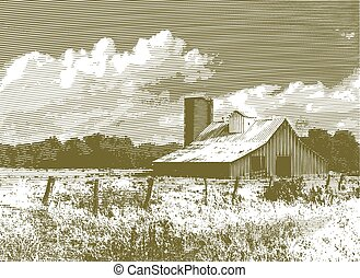 Engraved Red Barn and Silo