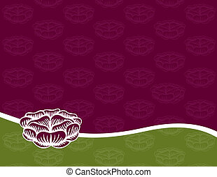 Engraved Rose on a Purple and Green Background