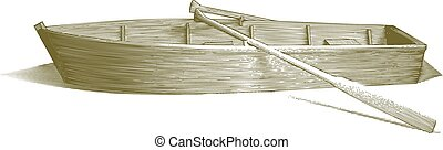 Engraved Row Boat - Engraved-style illustration of a wooden ...