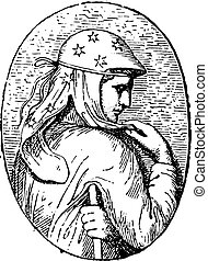 Engraved stone, vintage engraving.