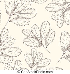 Engraved style leaf seamless pattern. Hand drawn vector illustration. D
