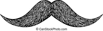 mustache - Engraved vintage long mustache. Vector...