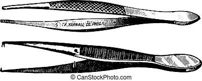 engraving., 切り裂くこと, 鉗子, 型