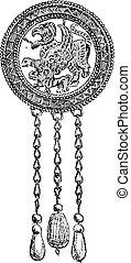 engraving., 型, ペンダント