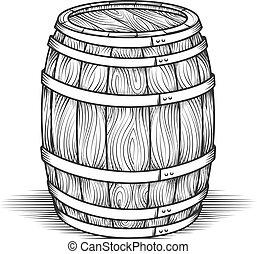 Black engraved vintage barrel