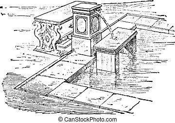 engraving., basin-fountain, κρασί , νηρηίδα