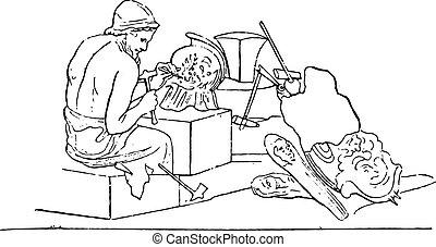 engraving., beeldhouwer, ouderwetse