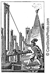 Engraving, beheading guillotine allegory