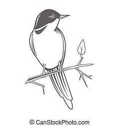 Engraving bird nightingale emblem vector - Engraving bird...