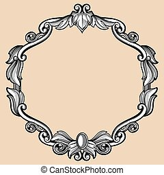 Engraving border frame with pattern in retro antique style