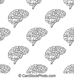 Engraving brain illustration, Hand Drawn Anatomical seamless pattern. Vector