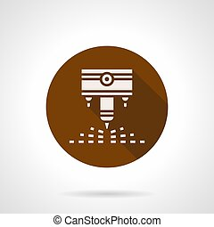 Engraving laser machine brown round vector icon - Abstract...