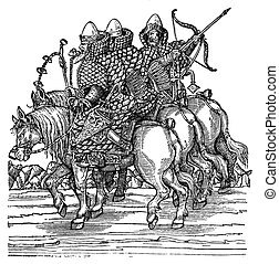 Engraving, medieval Moscow warriors