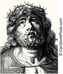 Engraving of Jesus Christ with crown of thorns