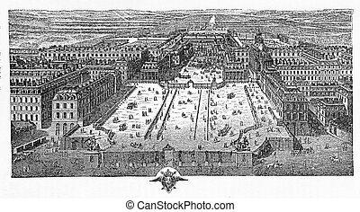 Engraving of Versailles on 1715