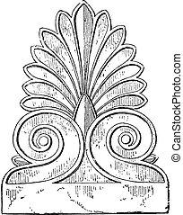engraving., palmette, vendimia, parthenon