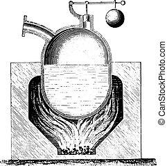 engraving., papin, ボイラー, 型
