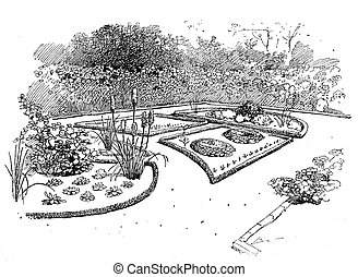 Ornamental garden engraving. Ornamental gardens use plants designed more for their aesthetic pleasure and appearance, flowering plants and bulbs in addition to foliage plants, ornamental grasses, shrubs and trees.