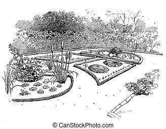 Engraving - planning ornamental garden - Ornamental garden...