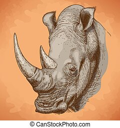 Engraving rhinoceros - Vector engraving antique illustration...