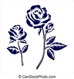 Engraving roses on grey background