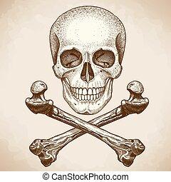 engraving skull and crossbones