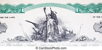 Engraving Statue of Liberty Stock Certificate Vignette -...