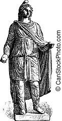 engraving., statue, vendange, paris