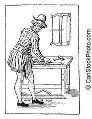 engraving., timmerman, ouderwetse , 1580
