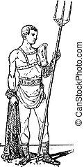 engraving., vendange, retiarius