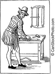 engraving., vendimia, 1580, carpintero