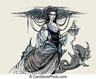 engraving with ocean goddess and dolphin