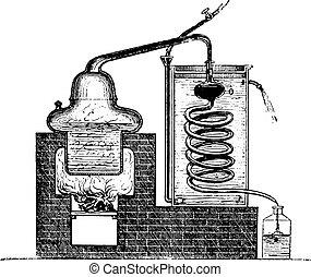 engraving., zařízení, vinobraní, distilling