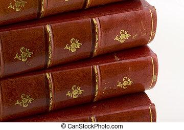 engravings, antigas, ouro, couro, livros, pilha, vermelho