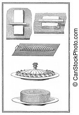 Engravings of cookies, bread and pastry: preparation and table presentations.