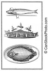 Engravings of fish and fish dishes: preparation and table presentations.